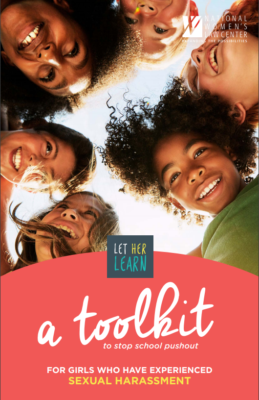 "image: smiling girls; title: ""Let Her Learn: A toolkit to stop school pushout for girls who have experienced sexual harassment"""